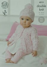 KNITTING PATTERN Baby's Easy Knit Cardigan and Pom-pom Hat DK KC 4315