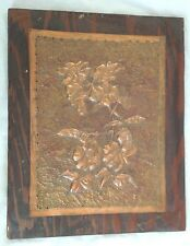 """Etched Engraved Hammered Tooled Copper 10.5X13"""" Floral Art Picture"""