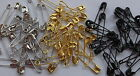 SMALL SAFETY PINS SILVER/GOLD/BLACK 2CM/20MM X 4MM, CRAFT, SEWING ETC