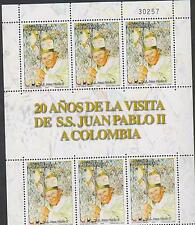 O) 2006 COLOMBIA, POPE JOHN PAUL II, ANNIVERSARY VISIT TO COLOMBIA 1986, MNH