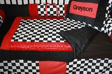 5 piece  Black Checker red car crib bedding Free personalized  pillow