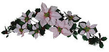 """Pink Poinsettia 35"""" Swag Garland Christmas pDecor Artificial Flower Home Office"""