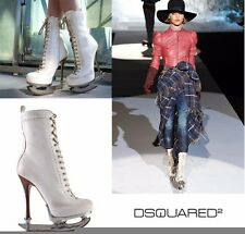 DSQUARED2 *SKATE MOSS* ICE SKATE WHITE ANKLE LEATHER BOOTS 38