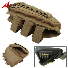 Hunting Tactical Rifle Shotgun Buttstock Ammo Shell Pouch Holder w/Cheek Pad Tan
