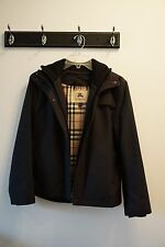 AUTHENTIC BLACK BURBERRY RAIN JACKET WITH KNIT DETAIL AND HOOD - SIZE SMALL