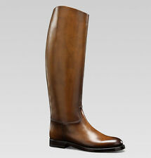 $1,250 GUCCI BOOTS 1921 RIDING WITH CREST DETAIL BROWN LEATHER sz IT 38.5 US 8.5