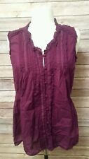 Converse One Star Women's Medium M Burgundy Sleeveless Button Down Top Blouse
