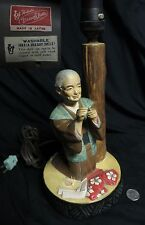 Japanese Hakata Urasaki Doll Statue Lamp Elderly Woman Sewing Ceramic Figurine