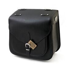 Ledrie Sacoche de selle noir gris Cuir Renforcé 36 Litres,pour Harley Davidson