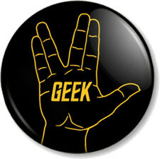 "Star Trek GEEK Vulcan Hand Salute 25mm 1"" Pin Button Badge Sign Signal Spock Fun"
