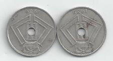 2 OLDER 25 CENTIME COINS from BELGIUM - 1938 & 1939 (BOTH FRENCH VARIETY)