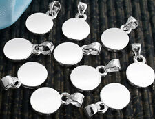 "10 Silver Plated Round Glue on Pad Pendant Bails 0.4"" HOT"