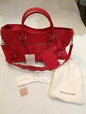 Authentic Balenciaga Red Rose Gold Hardware Giant 12 City Bag / Crossbody