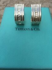 Tiffany & Co. Sterling Silver Atlas Roman Numeral Hoop Earrings