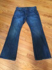 GUESS Men's Boot Cut Modele Jeans Flap Pockets Leather Thick Stitching 34 x 33