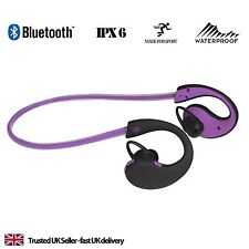 Bluetooth Headphones Sports Running Neckband Earphones for iPhone 5 6 7 - Purple