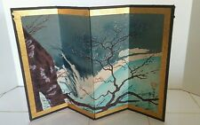 Vintage Japanese Asian Hand Painted Miniature Table Top Folding Screen SIGNED