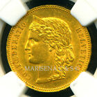 SWITZERLAND 1890 B GOLD COIN 20 FRANCS * NGC CERTIFIED GENUINE MS 61 * GORGEOUS