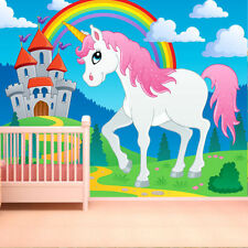 WALLPAPER FAIRYTALE CASTLE & UNICORN WALL PAPER 300cm wide 240cm tall WMO055