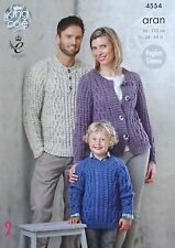 KNITTING PATTERN Ladies/Mens/Boys/Girls Cable Jumpers & Jacket Aran 4554