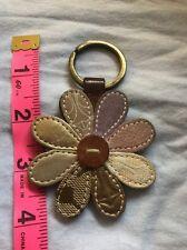 Vintage COACH Flower Key Fob Brown Copper Leather Daisy Flower Keychain