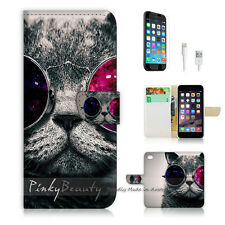 "iPhone 6 (4.7"") Print Flip Wallet Case Cover! Charm Pussy Cat Glass P0379"