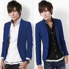 Fashion Men's Casual Slim Fit One Button Suit Blazer Coat Jacket Tops Royal Blue