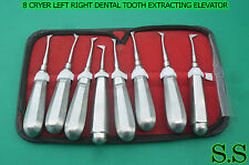 8 CRYER LEFT RIGHT DENTAL TOOTH EXTRACTING ELEVATOR SMALL LARGE MEDIUM X LARGE