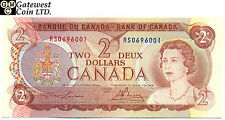 Raw Bank of Canada 1974 $2 TEST Note Serial Number R/S0696001