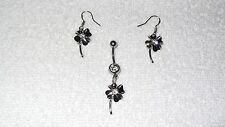 Shamrock Four Leaf Clover Belly Navel Ring Body Jewelry Piercing Earrings Set
