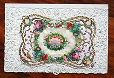 POSTED 1881 VICTORIAN VALENTINE CARD + ENVELOPE MOSSMAN PAPER LACE GILDED OPENS