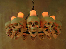 Life-Size Skull Chandelier w/ 12 Skulls w/ Wax Candles, Human Skeletons, NEW