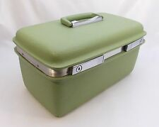 Vintage SAMSONITE Make-Up Case Train Luggage Avacado Green with Tray and Key