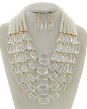 Five Layers Faceted Clear Lucite Bead Chunky Necklace Earring Set