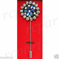 New in box Brand Q Men's Suit brooch gray blue beads flower lapel pin formal