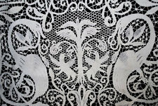 "ANTIQUE TABLECLOTH ITALIAN CANTU LACE FIGURAL ADAM AND EVE BANQUET 190"" LONG"