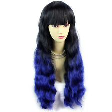 Wonderful Curly Black Brown & Blue Long Lady Wigs Dip-Dye Ombre hair WIWIGS UK