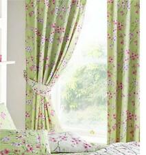 PAIR OF LINED CURTAINS 66 x 72 PENCIL PLEAT - SAGE & PINK BLOSSOM