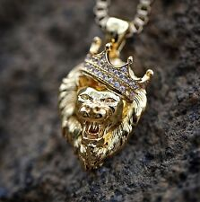 Gold Mini Lion Head Charm Pendant Necklace