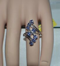 CHARMING 1.48 ct. NATURAL GENUINE  TANZANITE BYPASS RING  SIZE 6