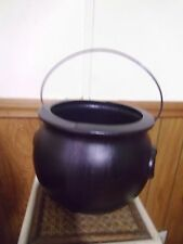 """BLACK CAULDRON  NO HOLE IN BOTTOM PROP PARTY DECOR TRICK OR TREAT 10"""" H W HANDLE"""