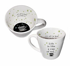 Inside Out Single Ceramic Mug  Life is Like a Cup of Tea Gift Boxed Novelty Fun