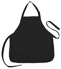 Apron Commerical Restuarant Home Residential Bib Spun Great for Gifts (3 Pocket)