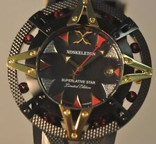 New Mens Xoskeleton Automatic Superlative Star Red Ruby Stones Black IP Watch