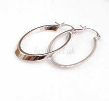 fashion1uk Women's  Lady Art Creole Oval Hoop Earrings 38mm White Gold Plated
