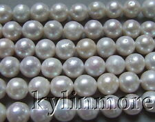 8PE02472 10-11MM  white Nucleated Flameball Baroque Pearls Bead 15.5""