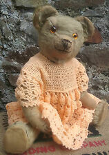 """RARE Antique old early Chad Valley character teddy bear with button, 1920s, 21"""""""