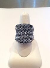 """Joan Boyce """"Must Have"""" Pave Blue Crystal Ring Size 8"""