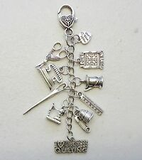 Scissors Keeper I love Quilting Ruler Needle Sew Machine Fob Key ring Bag Charm