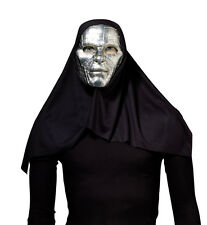 SILVER / BLACK #FANTASY ROBOT MASK & HOOD CYBORG FANCY DRESS COSTUME ACCESSORY